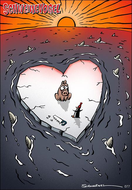 Schweinevogel Cartoon Valentinstag Schwarwel